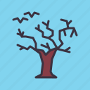 bats, gallow, haunted, horror, scary, spooky, tree icon