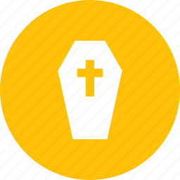 casket, coffin, cross, halloween icon