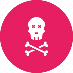 caution, crossbones, danger, jolly, pirate, roger, skull icon