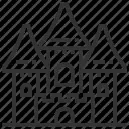 abandoned, building, castle, estate, halloween, horror, spooky icon