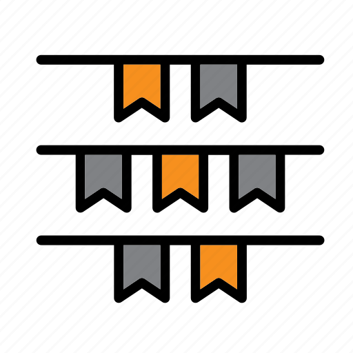 bunting, celebration, decoration, flag, flags, halloween, streamer icon