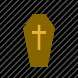 burial, casket, celebration, coffin, cross, festival, halloween icon