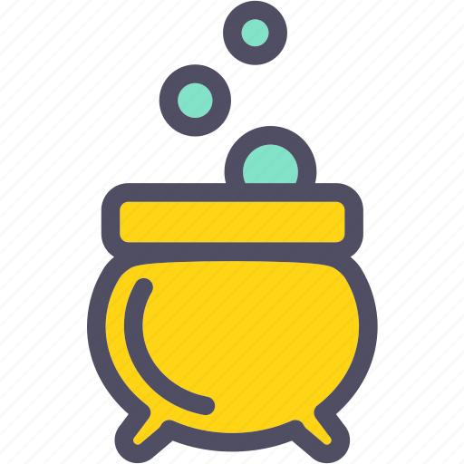 bubbles, cauldron, halloween, potion icon