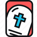cards, cemetery, cross, death, grave, headstone icon