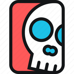 bone, cards, death, skeleton, skull icon