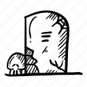 doodle sketch, horror, scary, gravestone, tombstone, halloween, headstone icon