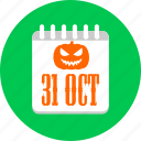 calendar, halloween, oct, october, pumpkin icon