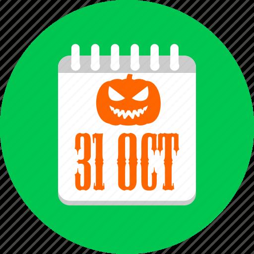 calendar, halloween, oct, october, pumpkin icon
