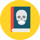 book, halloween, horror, learning, read, reading, skull icon