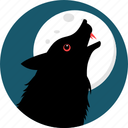 animals, dark, fox, moon, nature, night, wild icon