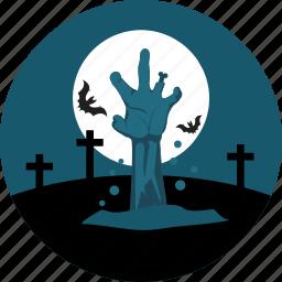 bats, cemetery, finger, graveyard, hand, moon, rood icon