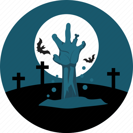 bats, cemetery, finger, graveyard, hand, moon, rood icon