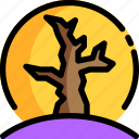 dry, halloween, moon, night, party, tree icon