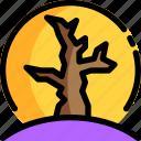 dry, halloween, moon, night, party, tree
