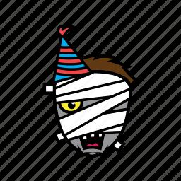 avatar, birthday, face, halloween, mummy icon