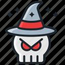 evil, halloween, horror, magician, october, scary, skull icon