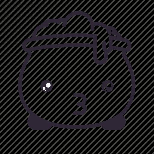 cauldron, halloween, kawaii, kiss, love icon