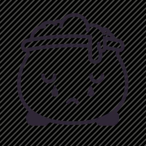cauldron, cry, halloween, kawaii, potion, sad icon