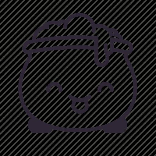 cauldron, glad, halloween, happy, kawaii icon