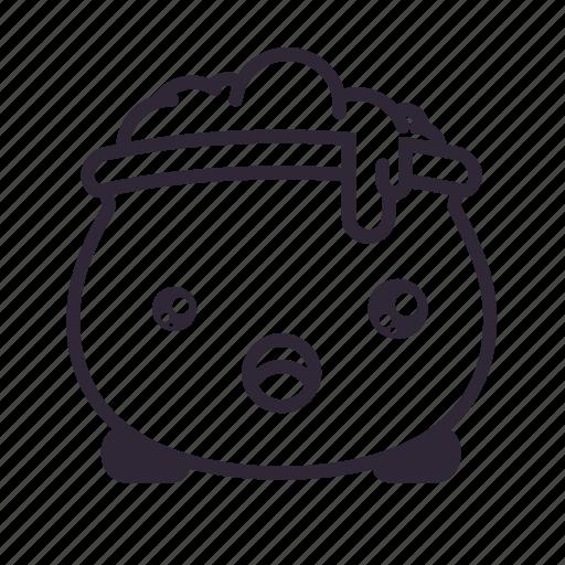 cauldron, halloween, kawaii, surprised icon