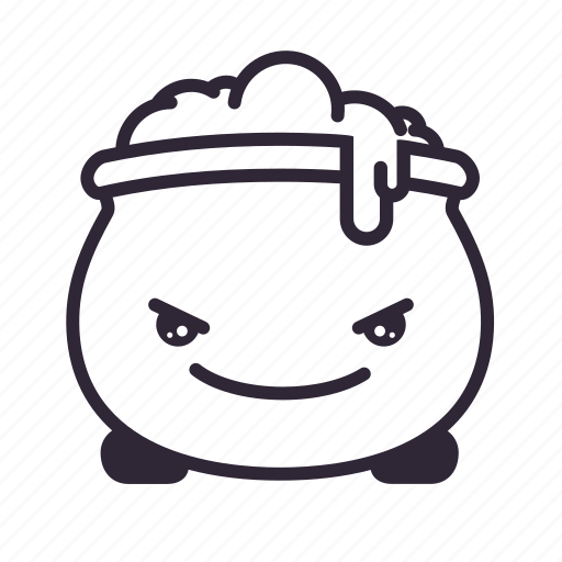 angry, cauldron, halloween, kawaii icon