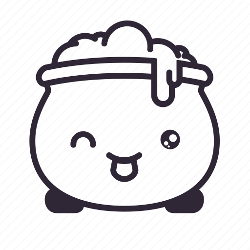 cauldron, halloween, kawaii, mouth icon