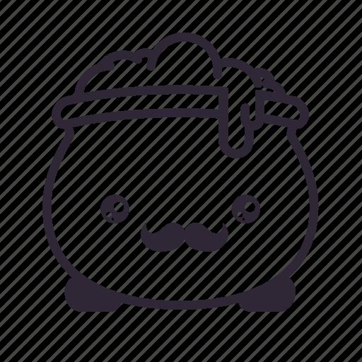 cauldron, halloween, kawaii, moustache icon