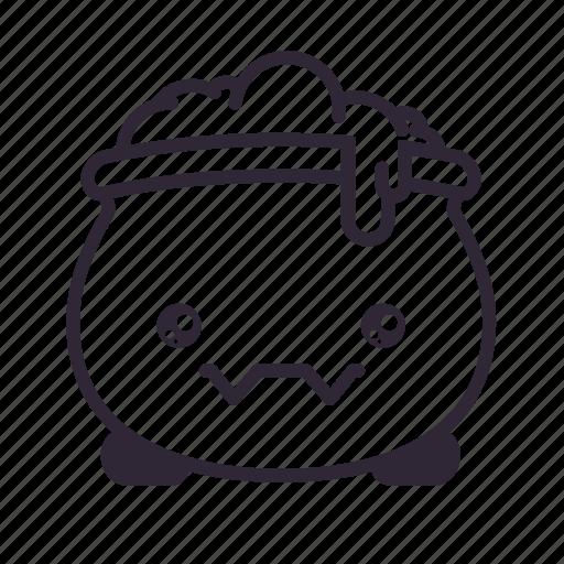 cauldron, halloween, kawaii icon
