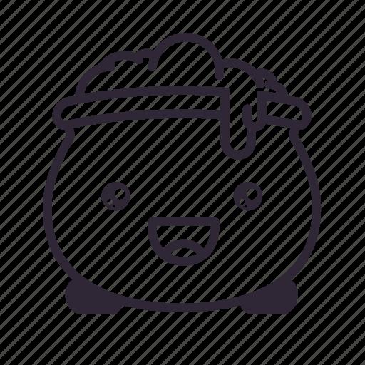 cauldron, halloween, happy, kawaii icon