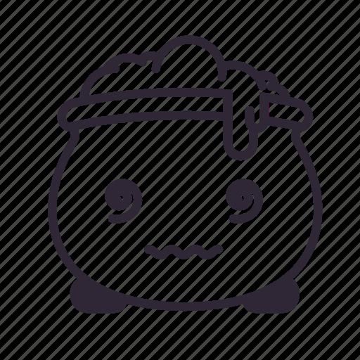 cauldron, dizzy, halloween, kawaii, sick icon