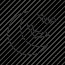 bats, crescent, moon icon
