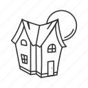 halloween, haunted, house, moon icon