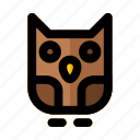 bird, halloween, isolated, owl, silhouette, wings icon