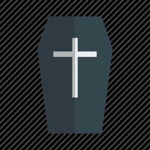 box, case, casket, ceremony, closed, coffin, cross icon