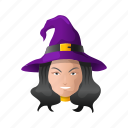 witch hat, spooky, hat, girl, witch, halloween, holiday icon