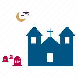 grave, graveyard, haunted, house, mansion, scary, spooky icon