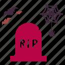 bug, grave, gravestone, graveyard, ripbats, spider