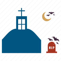 bats, building, haunted, house, mansion, moon, rip icon