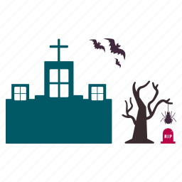bats, halloween, home, house, mansion, spider, tree icon
