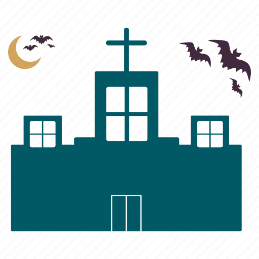 bats, building, haunted, home, house, mansion, moon icon