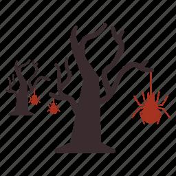bug, halloween, hanging, net, spider, tree icon
