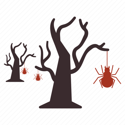 bug, halloween, hanging, net, spider, tree icon