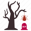 bug, grave, hanging, net, rip, spider, tree icon