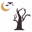 bats, flying, halloween, moon, night, tree icon