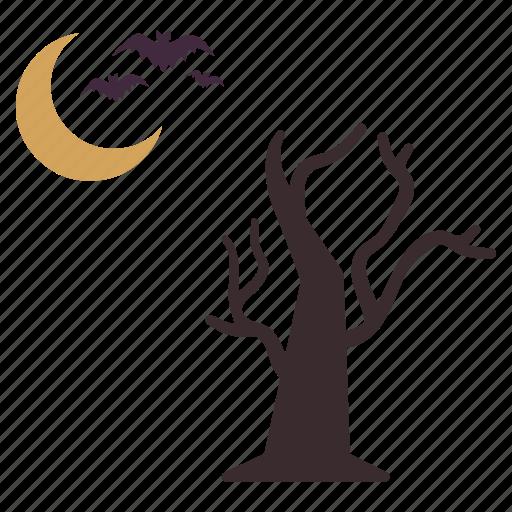 bats, flying, halloween, moon, night, tree icon