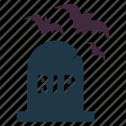 bats, grave, graveyard, halloween, night, rip icon