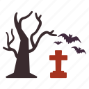 bats, flying, grave, graveyard, halloween, tree icon