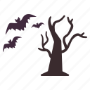 bats, flying, halloween, tree icon