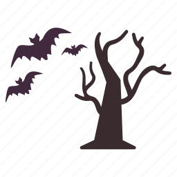 bats, flying, halloween, tree icon