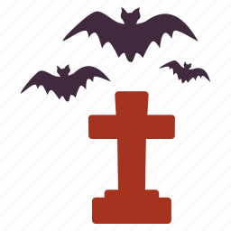bats, cross, flying, grave, halloween, horrible, scary icon
